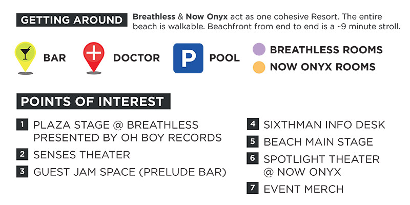 Map of Breathless + Now Onyx Resorts